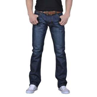 kingfansion -Pants kingf Mens Denim Jeans Plain Fited Straight Leg Jeans Cotton Loose Work Trousers