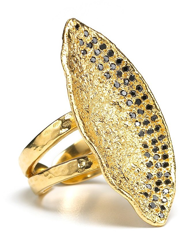 Melinda Maria Oversized Onyx Pavé Ring