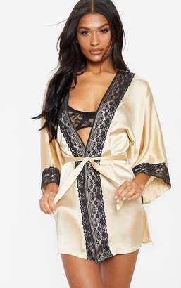 PrettyLittleThing Champagne Lace Trim Satin Robe