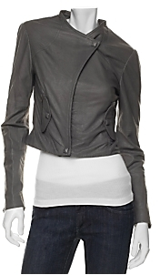 Veda Cropped Leather Snap Jacket