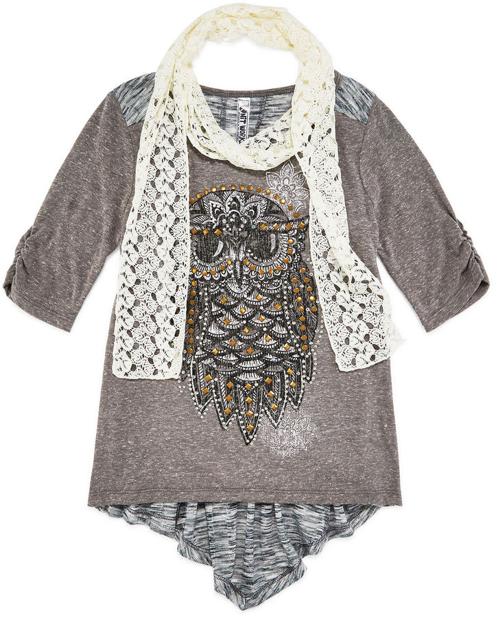 Knit Works 3/4-Sleeve High-Low Graphic Top with Scarf - Girls 7-16