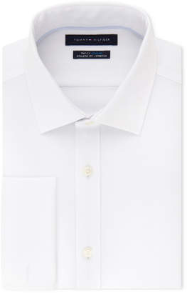 Tommy Hilfiger Men's Fitted Th Flex Cooling Stretch Performance French Cuff White Dress Shirt