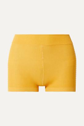 Nagnata - Net Sustain Yoni Striped Technical Organic Cotton-blend Shorts - Yellow