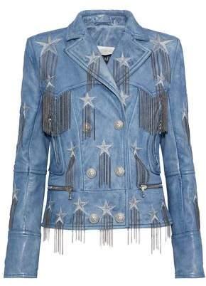 Balmain Chain-Embellished Metallic Embroidered Leather Biker Jacket