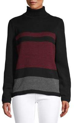 Karen Scott Cotton Printed Turtleneck Sweater