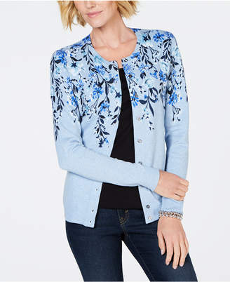 Karen Scott Cotton Floral-Print Cardigan