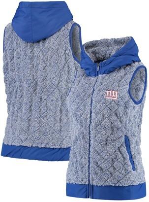 Antigua Women's Heathered Royal New York Giants Fame Hooded Full-Zip Vest