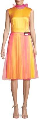 Prada Silk & Tulle Overlay Bow-Back Dress