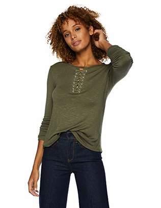 Democracy Women's 3/4 Sleeve Shirt w Lace Up Neck