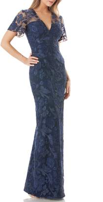 Carmen Marc Valvo Sequin Embroidered Gown