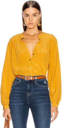 Frame Pleated Blouse in Marigold | FWRD