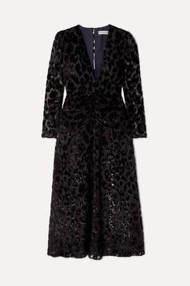 Self-Portrait Metallic Flocked Chiffon Midi Dress - Black