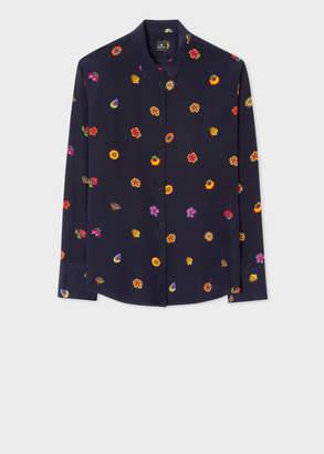 Paul Smith Women's Navy 'Kyoto Floral' Print Silk Shirt