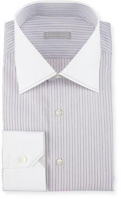 Stefano Ricci Contrast Collar/Cuff Striped Dress Shirt, Purple $750 thestylecure.com
