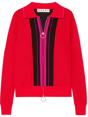 Marni Color-block Mohair-blend Top - Red