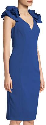 Jax Rosette-Shoulder V-Neck Sheath Dress