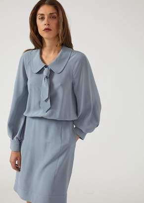 Emporio Armani Crepe De Chine Silk Dress With Tie And Peter Pan Collar