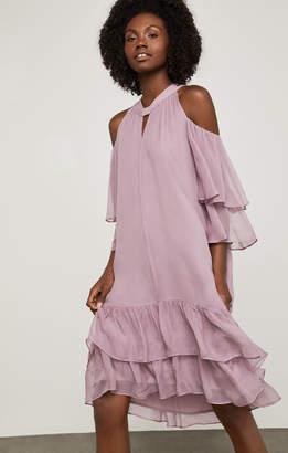 BCBGMAXAZRIA Cold-Shoulder Silk Chiffon Dress