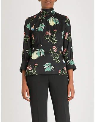 Peter Pilotto Floral-print high-neck silk top