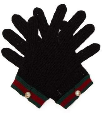 Gucci Web Striped Crochet Gloves - Womens - Black