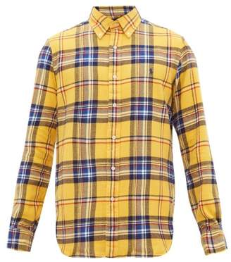 Polo Ralph Lauren Custom Fit Checked Cotton Twill Shirt - Mens - Yellow Multi