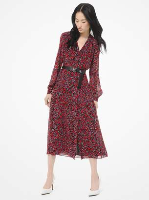 MICHAEL Michael Kors Woodland-Print Georgette Shirtdress