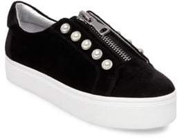 Steve Madden Lynn Zip and Pearl Leather Slip-On Sneakers