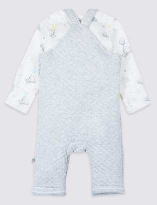 Marks and Spencer 2 Piece Quilted Dungarees & Bodysuit Outfit