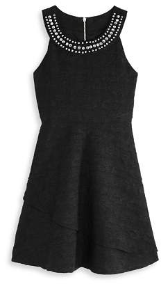 Us Angels Girls' Textured Dress with Jeweled Neck - Big Kid