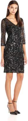 Adrianna Papell Women's V Neck Sequin Sheath Dress with 3/4 Sleeves, Black/Silver