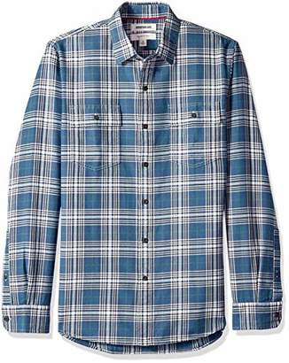 Goodthreads Men's Slim-Fit Long-Sleeve Plaid Herringbone Shirt