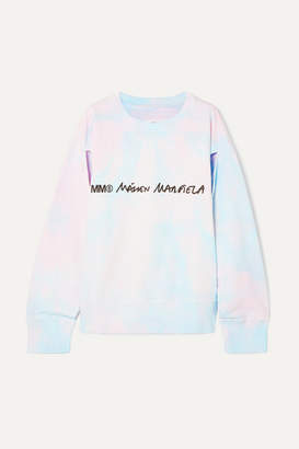 MM6 MAISON MARGIELA Cutout Printed Tie-dyed Cotton-jersey Sweatshirt - Blush