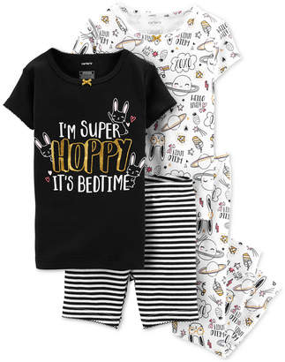 Carter's Carter Baby Girls 4-Pc. Bunny Graphic Cotton Pajamas Set