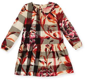 Burberry Tais Floral Check Poplin Dress, Pink/Tan, Size 4-14 $285 thestylecure.com