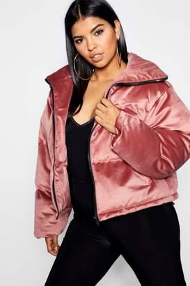 boohoo Plus Puffer Velvet Jacket