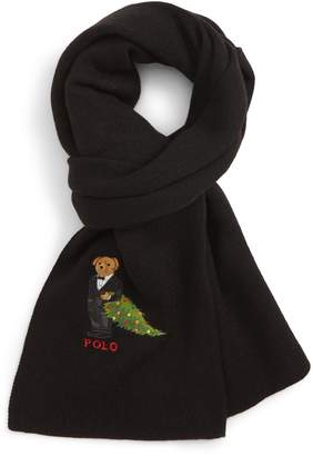 Polo Ralph Lauren Embroidered Christmas Tree Bear Scarf