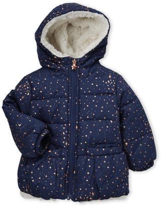 Osh Kosh B'gosh (Infant Girls) Navy Hooded Foil Stars Coat