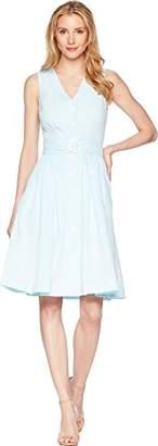 Donna Morgan Women's Short Sleeve Zipper Front Shift Dress