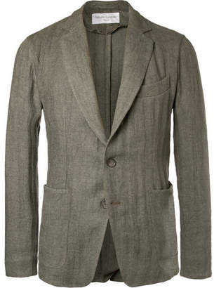 Officine Generale Olive Slim-Fit Unstructured Herringbone Linen-Blend Suit Jacket