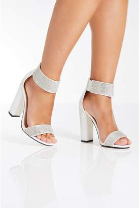 Quiz White Satin Diamante Bridal Sandals