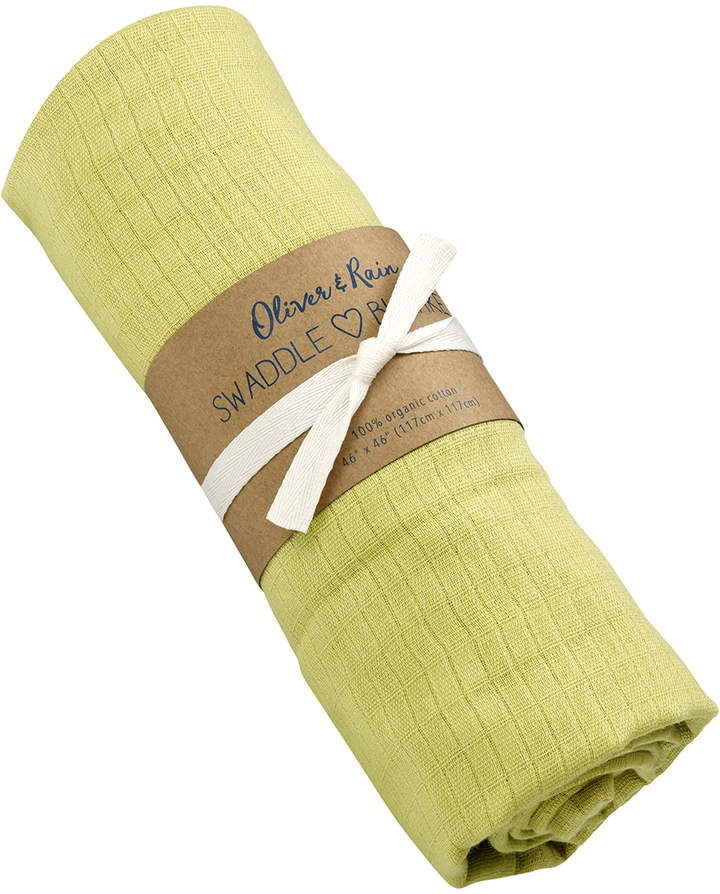 Lime Green Organic Muslin Cotton Swaddle Blanket