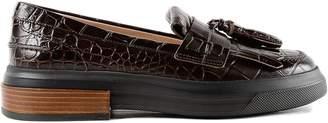 Tod's Crocodile Effect Platform Loafers