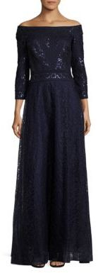 Tadashi Shoji Three Quarter Sleeve A-Line Sequined Gown $550 thestylecure.com