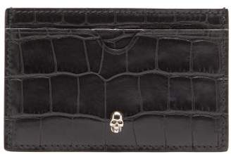 Alexander McQueen Crocodile Effect Leather Card Holder - Mens - Black