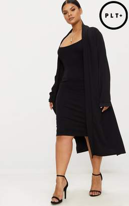 PrettyLittleThing Plus Black Crepe Maxi Duster Jacket