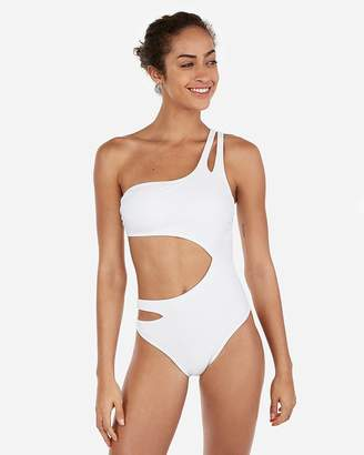 Express Solid One Shoulder Cut-Out One-Piece Swimsuit