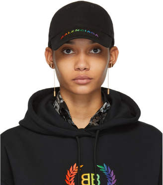 Balenciaga Black Rainbow Logo Cap