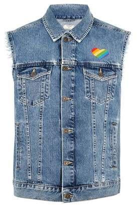 Topman Mens Blue Denim Heart Embellished Gilet