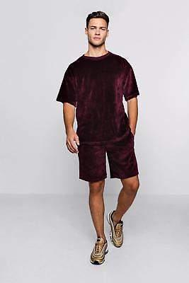 boohoo NEW Mens Velour Drop Shoulder T-Shirt & Short Set