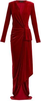 Alexandre Vauthier Gathered velvet wrap dress